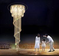 luces de araña modernas para el vestíbulo al por mayor-Lujo moderno araña de cristal de diseño en espiral Escalera accesorios de iluminación Sala de estar de lujo Lobby LED Luces de cristal