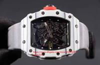 capas japonesas al por mayor-Mens militar Montañismo racing RM35-02 blanco capa de fibra de carbono japonés Miyota 9015 Relojes de movimiento automático