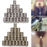 ingrosso estensioni dei capelli di tubi di rame-24pcs treccia di capelli Dreadlock perline clip per polsini Viking Rune Pattern Tubi ad anello in rame per intrecciare accessori per l'estensione dei capelli