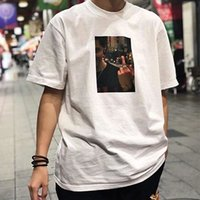 m dvd al por mayor-19SS BOX LOGO BOTE FOTOGRÁFICA Tee DVD Summer Hip Hop Street Skateboard T-shirt Hombres Mujeres Moda Casual Manga Corta HFYMTX408