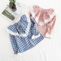 Wholesale kids shirts autumn for sale - Group buy kids designer clothes girls lattice T shirts children long Sleeve plaid blouse Spring Autumn fashion shirts baby Clothing C6904