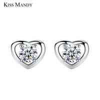 корейские квадратные серьги оптовых-KISS MANDY Cute Silver Heart Stud Earring For Women Square Cubic Zirconia Korean Fashion Jewelry Accessories Girls Gift KLE08