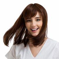 insan saç peruk kahverengi patlıyor toptan satış-2019 yeni Bayanlar İnsan Saç Kahverengi Patlama Ile Peruk Kahverengi Düz / Kıvırcık Orta Uzunlukta Dalga Peruk Dayanıklı Isı Sentetik Saç sıcak