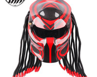 Wholesale carbon iron resale online - Motorcycle personality helmet predator iron blood warrior carbon fiber helmet explosive product