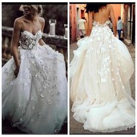 Wholesale adorn wedding dress for sale - Group buy Sweetheart Lace Appliques With D Flowers Adorned Wedding Dresses Bridal Gowns Backless Custom Vestidos De Marriage Plus Size