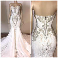 Wholesale sexy backless fishtail wedding dresses for sale - Group buy Mermaid Wedding Dresses Sexy Backless Sweetheart Beadings Lace Bridal Gowns With Fishtail Long Western Robe de mariage BC3034
