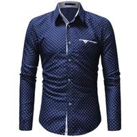 camisa de lunares blancos hombres al por mayor-Vestido casual de una pieza de Jaycosin, para hombre, lunares, camisa de vestir de manga larga, delgada, azul y blanco, camisa estampada C19041702