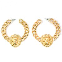 Wholesale gold lion earrings for sale - Group buy Hiphop Gold Lion Earring Fashion Europe and America Exaggerated High Quality Alloy Long Women s Lion Head Earrings Nightclub Equipment