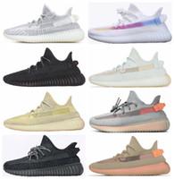 zapatos oscuros oscuros del resplandor al por mayor-Negro estático reflectante Antlia Arcilla Hiperespacio Forma verdadera Resplandor en la oscuridad Zapatillas para correr Kanye West Bred Chameleon Blanco Diseñador Zapatillas