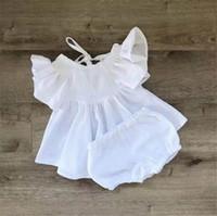 vestidos de lino nuevos al por mayor-Nuevo verano INS Toddler Baby Dress Girsl 2 piezas Set volantes vestidos sin mangas + Shorts de lino de algodón orgánico para niños niñas trajes de ropa 0-2T