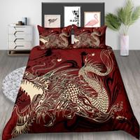 camas dobles chinas al por mayor-Juego de cama con estampado Dargon King Chinese Cool Classic 3D Funda nórdica Queen High End Home Deco Funda de cama individual doble con funda de almohada