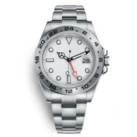 24 dial reloj al por mayor-Reloj Explorer II 40 MM, esfera blanca, acero inoxidable. Reloj automático, independiente. Fecha: 24 horas. Ajuste individual. Reloj de pulsera multifunción.