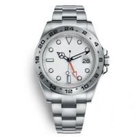 24 kadranlı saat toptan satış-İzle Explorer II 40 MM Beyaz Kadran Paslanmaz Çelik Otomatik İzle bağımsız Tarih 24 Saat ayrı ayrı Set Çok Fonksiyonlu Adam Kol Saati