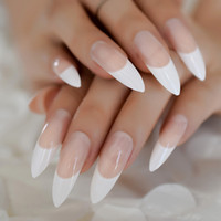 White French Tips Fake Nails Extra Long Stiletto False Natural Painted Long Party Designed Nails 24 Count