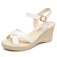 açık parmak sandal topuklu toptan satış-Yeni sandalet yüksek topuklu açık toe basit ve rahat rahat ayakkabılar bir toka ile kama Sandalet