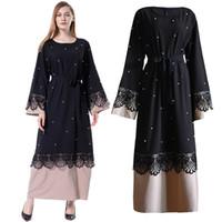 uzun kaftan siyah abayas toptan satış-Siyah Abaya Dantel İnciler İslam Müslüman Uzun Elbise Jilbab Kaftan Katar Kadınlar Için Kaftan Robe Dubai Abayas Türk İslami Giyim