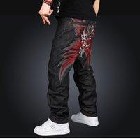 padrão de jeans folgado venda por atacado-High-End Denim Men Mid-Waist Fashion Jeans Solto Baggy Style Paisley Pattern Full-Length Zipper Black Color Fashion Jeans