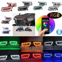 halo rgb venda por atacado-Polaris RZR Faróis LED RGB de Halo Kit Multicolor RGB de Halo ângulo Olhos APP Bluetooth Remote Acessórios Auto ATV LED Farol