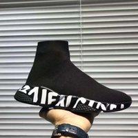 calcetines de arranque para las mujeres al por mayor-Diseñador de la zapatilla de deporte caliente Speed Trainer Negro Blanco Hombres Mujeres Calcetines Calzado Casual Botas velocidad corredor con la bolsa para polvo