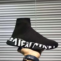 sıcak rahat ayakkabılar toptan satış-Sıcak Tasarımcı Sneaker Hız Eğitmen Siyah Beyaz Erkek Kadın Çorap Ayakkabı Casual Bot Hız Runner ile Toz Torbası