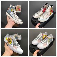 fare tuvali toptan satış-Yeni Convase Sınırlı Sayıda Hatıra 100 s Tasarımcı Sevimli Fare Ve Kedi Karikatür Tuval Sneakers Erkek Kadın Moda Sokak Rahat ayakkabılar