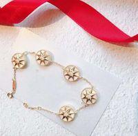 yıldız altın 925 toptan satış-Gül Altın Bilezik Kadın 925 Ayar Gümüş Sekiz Köşeli Yıldız Fritillary Beş Çiçek Pusula Bilezik Tasarımcı Gül Des Vents Takı 3 c
