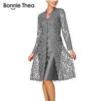 iki parçalı dantel bodycon elbiseleri toptan satış-Bonnie Thea Bayan Long Sleeve İki Parça Dantel Elbise bayan Şık Siyah Parti Elbise Vestido Kadınlar İlkbahar Elbise 2019 V191108