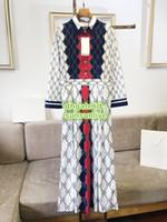 mädchen high-end-kleid großhandel-Frauen Vintage Top Mit Rhombus Print Shirt Kleid Feminine High End Casual Neck Revers Shirts Kleid Mädchen Runway Tops Rock Kleid S-2XL