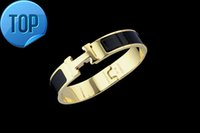 Wholesale metal cross cuff online - High Quality Celebrity design Letter Metal Buckle bracelet Fashion Metal Clover Cuff Bracelets Gold Jewelry With Box