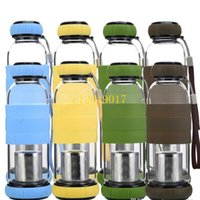 20Pcs Double-deck Tea Infusers high temperature resistant silicone glass water bottle glass Creative car gifts tea strainer 420ml 550ml