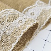 Wholesale wedding table runners beige resale online - 30 CM Natural Jute with White Lace Table Runner for Wedding Rustic Linen Hessian Burlap Party Supplies Wedding Decoration