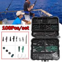 Wholesale Carp Fishing Tackle Kit Box Baiting Tools Swivels Hooks Sleeves Soft Beads Tubes Clips Set Accessory