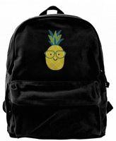 ingrosso zaino nero emoji-Adorable Nerdy Summer Pineapple Emoji con occhiali Canvas designer zaino per uomo Donna Adolescenti College Travel Daypack Borsa per il tempo libero Nero