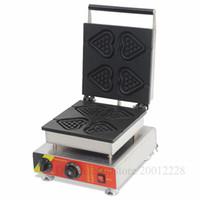 pasta için kalp kalıpları toptan satış-Ticari Kalp şeklinde Lolly Waffle Baker Makinesi Yapışmaz Kalp Kek Maker 4 Kalıpları 110 V / 220 V 1500 W CE Onayı için Restoranlar