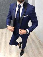 o partido usa roupas masculinas venda por atacado-Royal azul smoking de casamento para o noivo desgaste 2020 groomsman attire festa de formatura slim fit ternos dos homens de negócios (jaqueta + colete + calça)