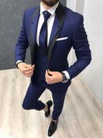 Wholesale piece slim fit suits navy blue resale online - Royal Blue Wedding Tuxedos for Groom Wear Groomsman Attire Prom Party Slim Fit Business Men Suits Jacket Vest Pants