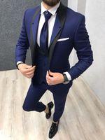 ingrosso la festa indossa i vestiti degli uomini-Smoking blu royal da sposa per lo sposo indossare abiti da uomo Groomsman Prom01 Slim Fit Business Suit (giacca + vest + pantaloni)