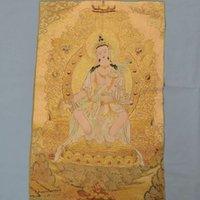 pintura de kwan yin venda por atacado-Tibet Budismo Pano De Seda Kwan Yin Guanyin Deusa Thangka Pintura Mural