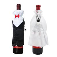 braut bräutigam weinflaschen groihandel-1pairs Schöne Handgemachte Braut und Bräutigam Weinglas Champagner-Flasche Hochzeit Dekoration Kostüm Goblet Wedding Supplies