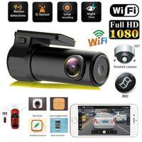 mini-kamera dreht sich großhandel-Auto-DVR Mini-Kamera kann 360 FHD 1080P Video-Auto-Kamera für Fahr Aufnahme-Auto-DVR-Detektor-Armaturenbrett-Kamera WiFi Drehen