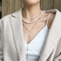Mujer Collar Cadena Suéter Gargantilla Colgante Irregular Bola Perla Necklace