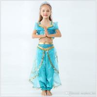 ingrosso vestiti della principessa della ragazza-2019 New Girls Aladdin Lamp Jasmine Princess Cosplay Costume Abbigliamento per bambini Set Abiti per bambini Vestito da ragazza Abiti da ballo