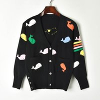 farbige strickjacken groihandel-Jacquard Strick Cardigans Damen Pullover 2019 Spring Coloured Small Whale V-Neck einreihige Strickjacke Runway Pullover Strickmantel