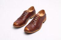 цветные кожаные кружева оптовых-Мужской британский ретро мужская обувь Мода повседневная обувь мужская первый слой кожи с цветными старый