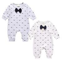 Wholesale baby mustache clothes resale online - Baby Clothes Boys Girls Rompers Jumpsuits Sleepsuit Bodysuit Mustache Printed Long Sleeve Long Pants Jumpsuit Kids Clothing X45