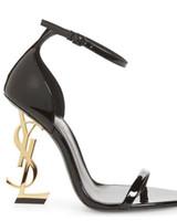 tacones mujer libre al por mayor-Zapatos de moda las mujeres zapatos de tacón alto los altos talones de las mujeres de la letra zapatos de tacón de la boda vestido de envío libre de las tapaszapatos de tacón alto de YSL