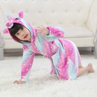 Wholesale nightgowns for kids resale online - Winter Unicorn Bathrobes For Baby Girls Flannel Pajamas Nightgown Kids Robes Animal Sleepwear Stitch Hooded Pyjamas Towel Robes