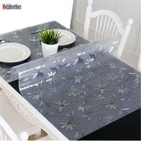 pvc yumuşak cam toptan satış-PVC yumuşak cam masa su geçirmez masa örtüsü anti-demir kumaş şeffaf kristal masa örtüsü