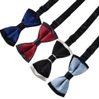 bebek boyun kravat takımları toptan satış-Bebek Boys Bow Kravatlar Çift Renkli Çift Katmanlar Saten Çocuk Tasarımcılar Tie Vaftiz Düğün Katı Renk Bebek Yürüyor Tie Yaylar Suits