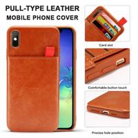 étui de protection de carte achat en gros de-Étui en cuir PU pour iPhone XS Max XR 8 Plus Étui portefeuille Anti-Slip Fentes pour cartes de crédit Housse de protection Opp Bag